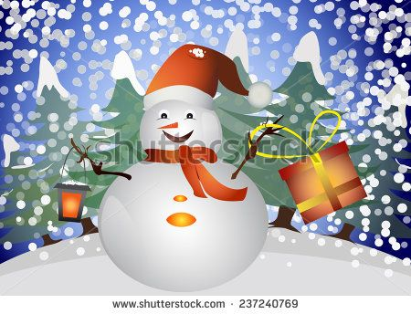 snowman in the forest with lantern and gift box in his hands - stock vector