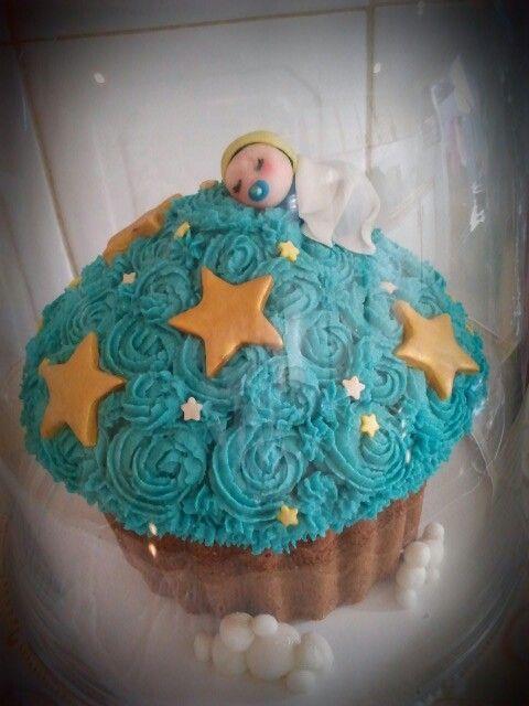Baby shower giant cupcake.