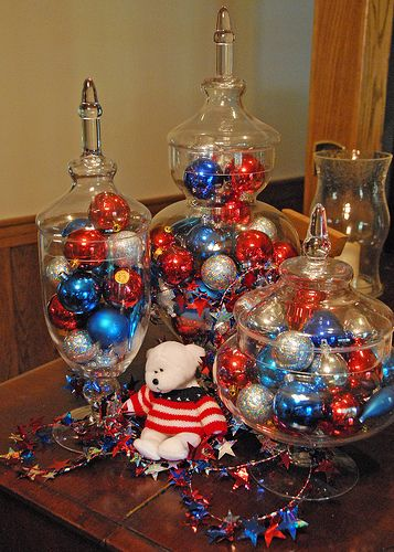 Patriotic decor in apothecary jars!