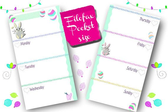 Filofax Pocket size  printable week in 2 pages,easter themed, filofax inserts, inserts refill , planner pages, Instant Download!