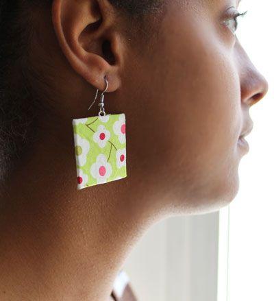 Boucles d'oreille en carton et tissu, Création Bijoux fantaisie