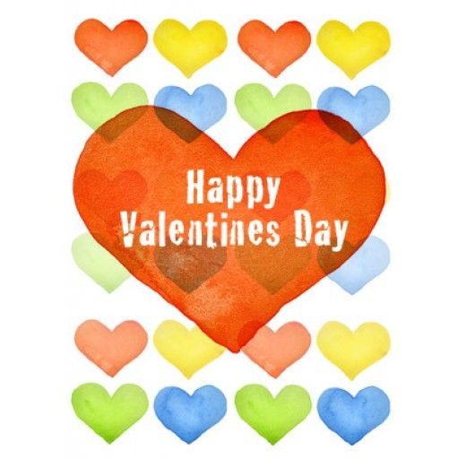 Valentine's Day Art eGift Card - Multi-Colored Hearts - electronic gift card eGift Card