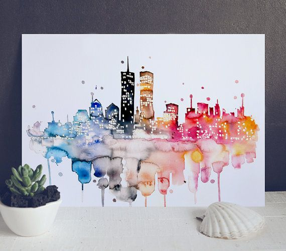 Cityscape Watercolor Painting  Skyline Poster  por WatercolorMary