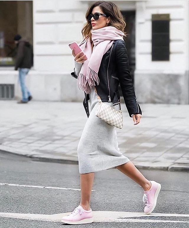 cashmere dress and scarf under leather. Pink and grey always looks girlie.