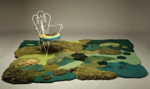 Carpets by Alexandra Kehayoglou  These carpets are made from wool, often from the leftovers of the production of other products in the factory, carrying a strong message of sustainability.