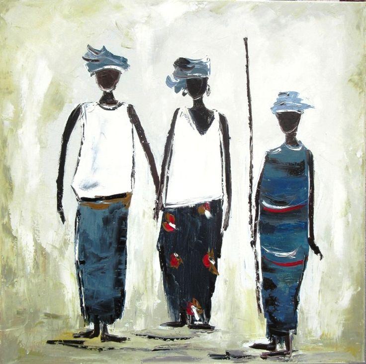 Rencontres africaines 2 : huile sur toile : 80/80 cm