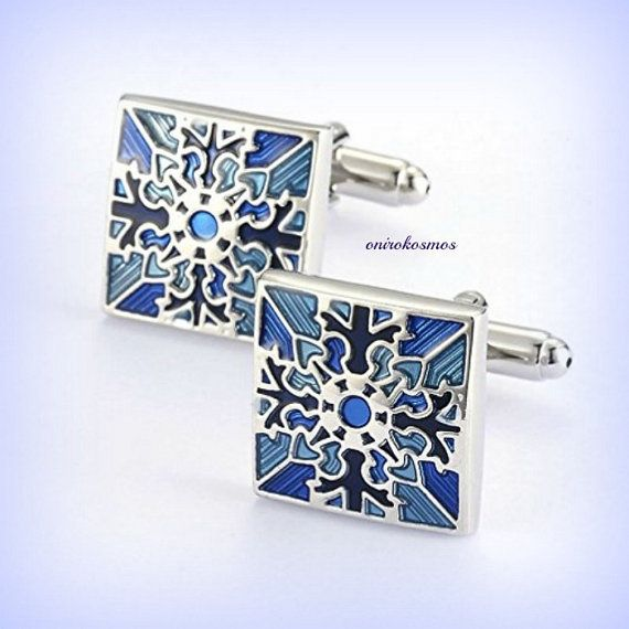 Stainless steel Blue Royal Nobility Enamel White Silver Snowflakes Business Shirt Wedding Cufflinks.