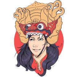 Konsep diambil dari Princess Mononoke dengan topengnya, Menggunakan Cultural Mask (Barong/Barongan Karakter Mitologi Bali) dan Cultural Robe. #Kaos #Desain #Baju #Design #TShirt #Tees #Rupawa #Barong #Wayang #Bali