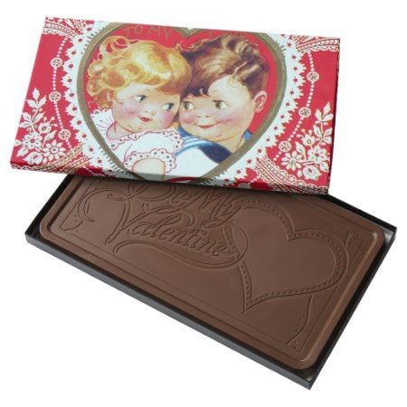 Retro Vintage Valentine kids box chocolate - tap to personalize and get yours