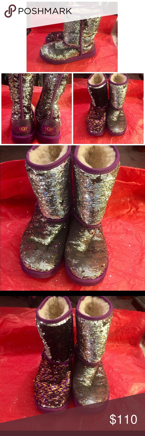 UGG CLASSIC SHORT SPARKLE BOOTS IN PURPLE These will be going quickly! These are the amazing Ugg classic short sparkle boots in purple w/silver, as well as gold!! The sequins are easily arranged the opposite direction turning the sequins from silver to GOLD!!-see pic #3. I bought these for my cousin to wear to the WA Husky game, & after she wore them 1-2xs but only for a few hours. Inside is absolutely perfect as is the outside. Gorgeous Ugg's!.⭐NO I AM SORRY I DO NOT TRADE-THANK YOU!⭐ UGG…