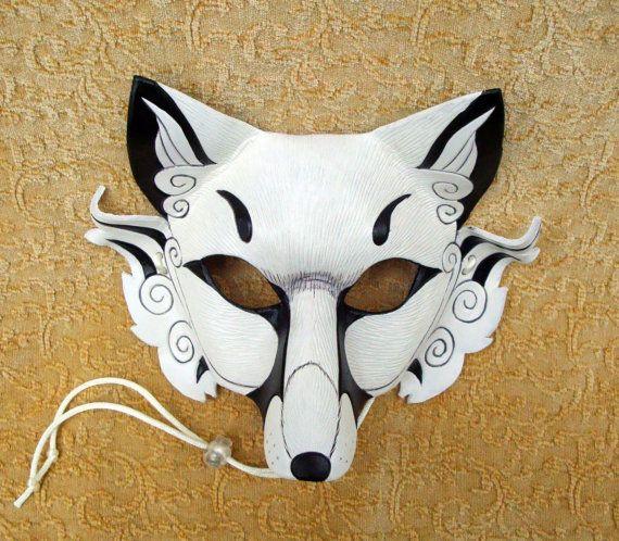 Inari Fox Leather Mask ...original hand made leather Japanese fox mask. $140.00, via Etsy.