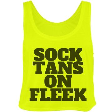 Band Camp Sock Tans Neon Tank Top. Cute design for marching band camp, winter guard traveling and back to school.