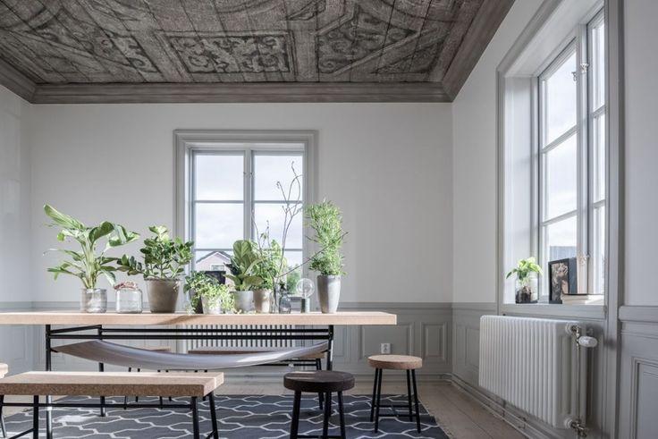 Pochi pezzi di design, colori neutri e le piante concentrate sul tavolo.