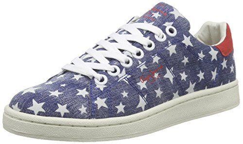 Pepe Jeans London CLUB STARS, Damen Sneakers, Blau (576WASHED NAVY), 40 EU - http://on-line-kaufen.de/pepe-jeans/40-eu-pepe-jeans-club-stars-damen-sneakers