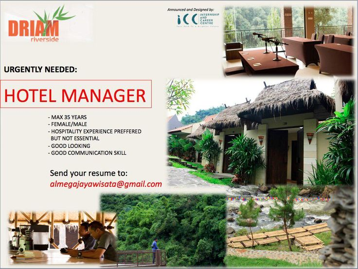 Driam Riverside Need Hotel Manager Hotelier Indonesia