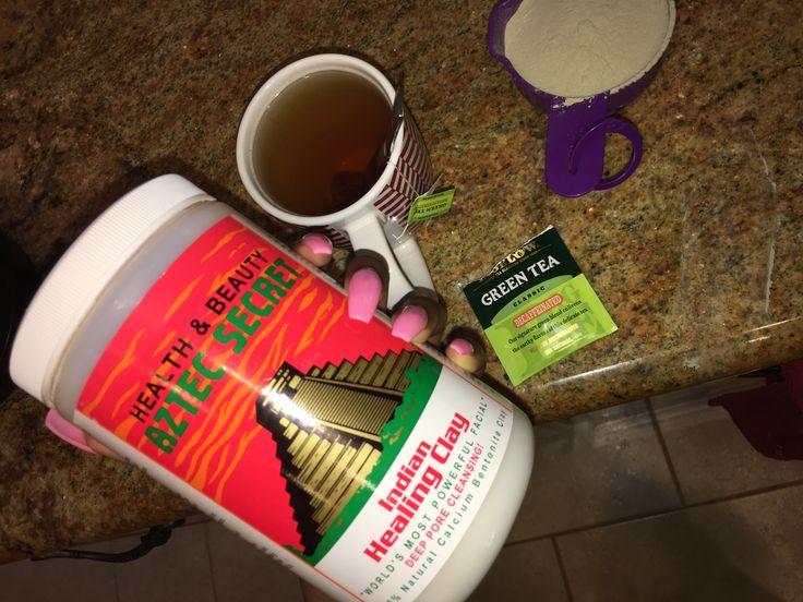 Diy Green Tea x Bentonite Clay Tummy Wrap ::  1 cup Bentonite Clay 2 Cups Water+Green Tea Mix together, apply to stomach, and wrap with saran wrap/cloth/cotton cloth.