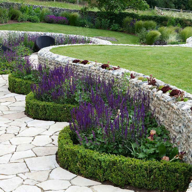 Perfect garden, retaining wall and border