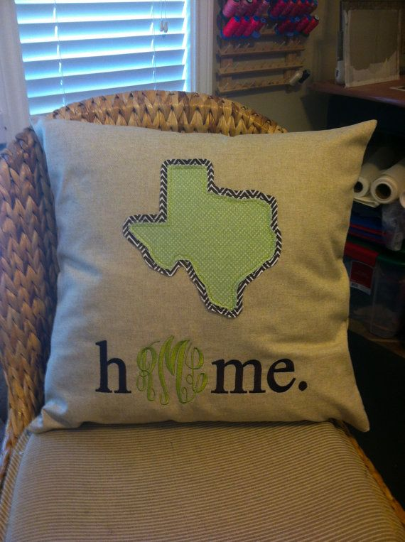 Monogrammed State Home Pillow Cover