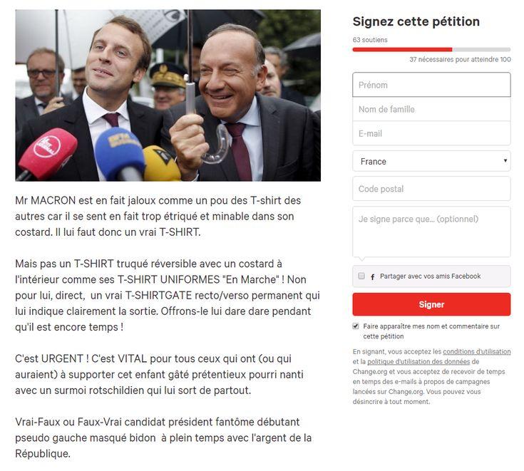 Des militants du mouvement Nuit Debout de Nîmes ont lancé une pétition sur Internet pour offrir un T-shirt à Emmanuel Macron après la frasque de ce dernier sur  «le costard qu'on peut s'offrir en travaillant».