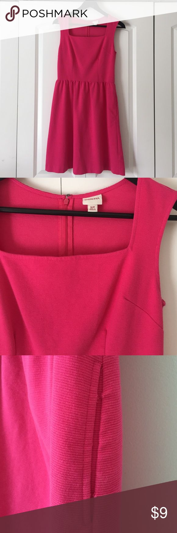 HOT Pink Merona Square Neck Dress Size Small Worn once! Got on clearance at Target last February for Valentine's Day! Perfect date night dress! Cinches at waist, ribbed material all throughout. Two pockets. Left pocket has some loose stitches. Dress is crazy comfy. Merona Dresses Asymmetrical