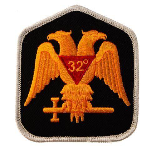 Masonic Scottish Rite 32nd Degree Gold on Black embroidered Patch