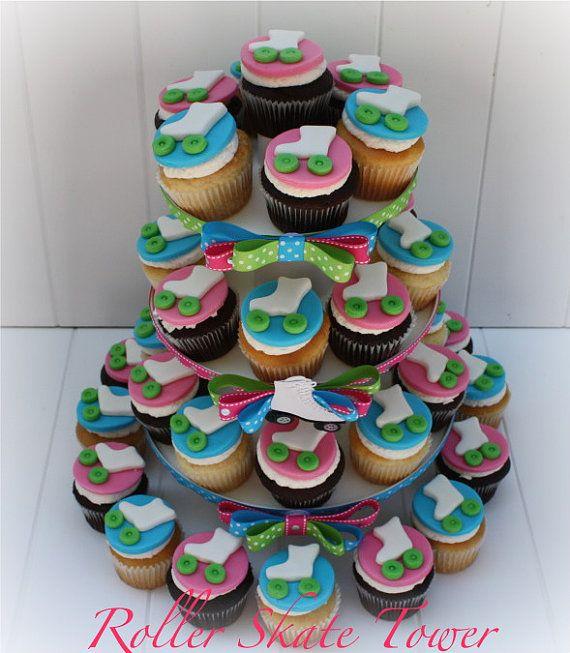 Roller Skate Cupcakes   Roller Skate Themed Cupcake Tower