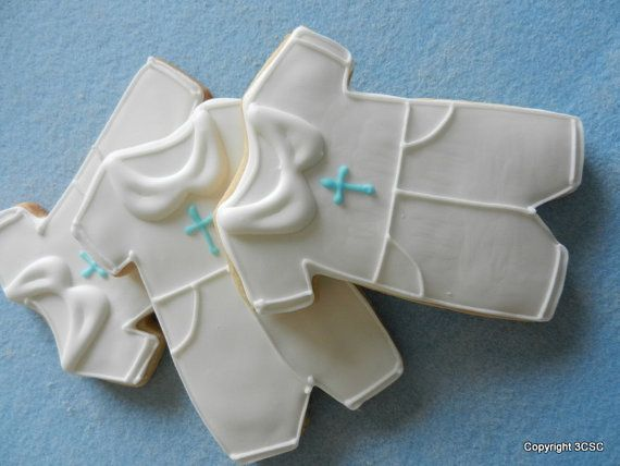 Baby Boy Baptism or Christening Jumper -Hand Decorated Sugar Cookie Favors on Etsy, $24.99