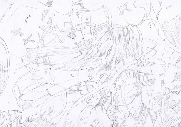 A sketch of #Hatsune Miku in the song Love is war  #vocaloid