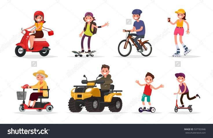 People and wheeled: vehicles, scooter, skateboard, bicycle, roller skates, gyroscooter, ATV. Vector illustration in a flat style