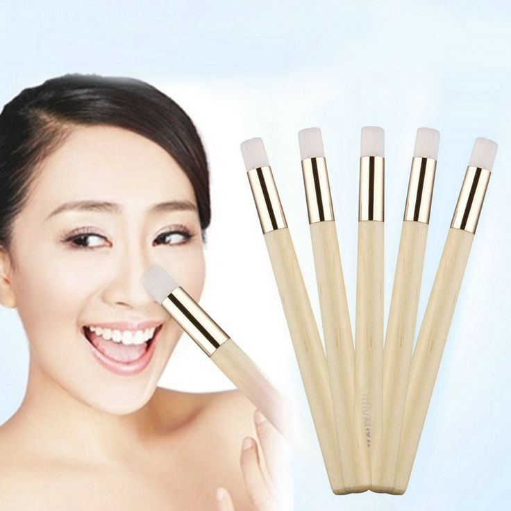 5pcs/set Professional Wooden Handle Flat Nose Blackhead Remover Brush Pore Control Deep Cleansing Facial Cleanser Beauty Tool
