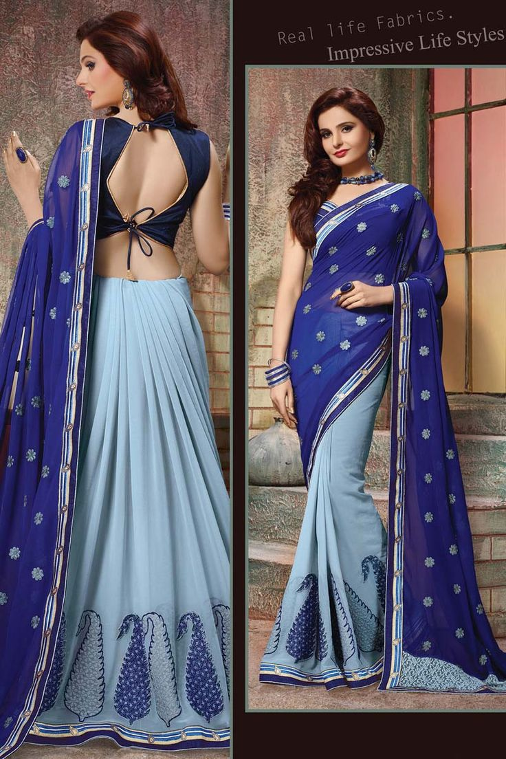 Blue Georgette Party Wear Saree