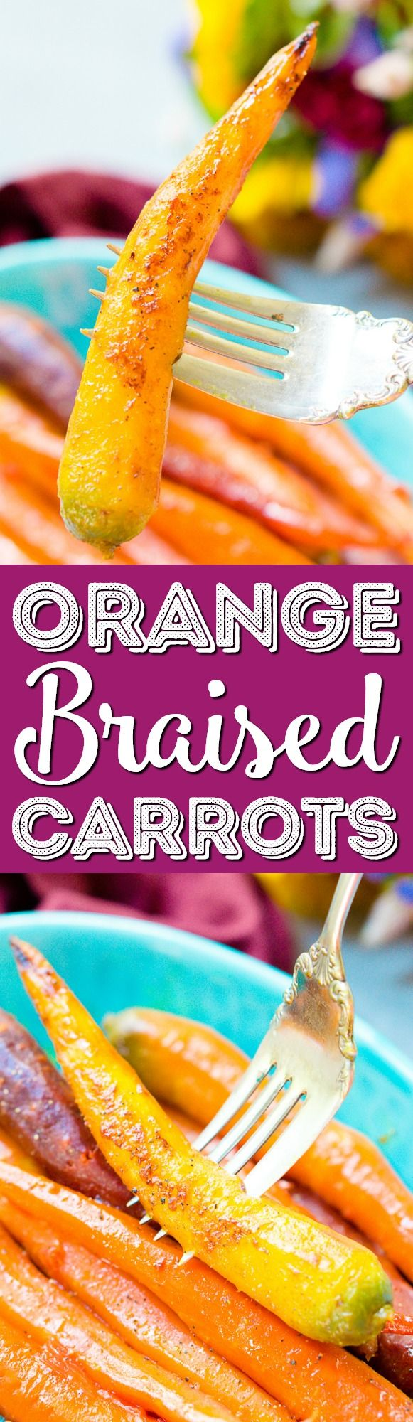 These Orange Braised Carrots are bound to be a highlight on your dinner table! Made with fresh-squeezed orange juice, butter, shallots, black pepper, and turmeric, this is one delicious side dish recipe! via @sugarandsoulco