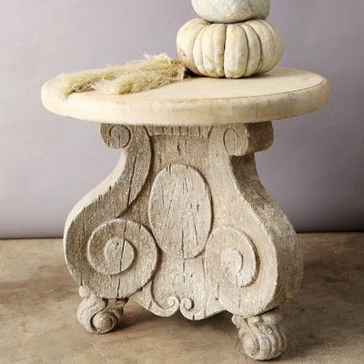 Creative Co-Op Chateau Round MDF and Magnesia Pedestal Table