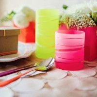 Bicchieri a strisce con vernice opaca fai da te