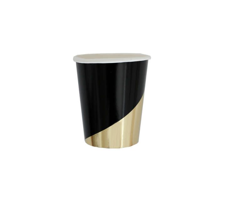 Black and Gold foil Cups, Modern party Cups, Party Cups, Gold foil cups, Disposible Cups, Modern Party supplies , Paper cups,party tableware by PrimAndParty on Etsy