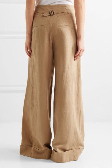 Ulla Johnson - Gaucho Pleated Broadcloth Wide-leg Pants - Light brown - US8