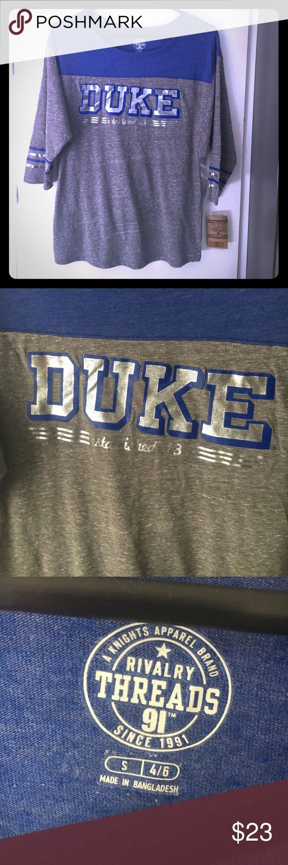 3/4 Sleeve Women's Duke Shirt, New with Tags 3/4 Sleeve Women's Duke Shirt, New with Tags. Super cute with metallic/foil lettering! Rivalry Threads Tops Tees - Long Sleeve