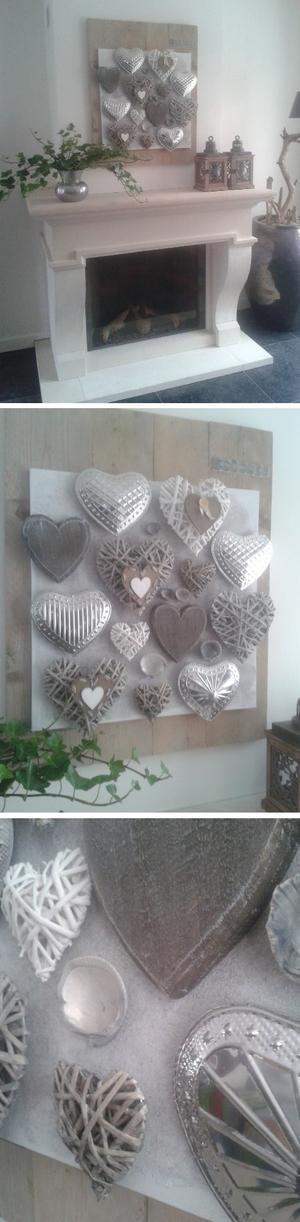 Bekijk de foto van BerbaMama met als titel Steigerplanken     doek     witte primer     zand     div. hartjes (allen action)   -------------------------------  = Landelijke Kunst!!    Ook inspiratie nodig voor 'boven de haard'? Maak dit dan zelf ook. Super makkelijk om te doen en kei-leuk! en andere inspirerende plaatjes op Welke.nl.