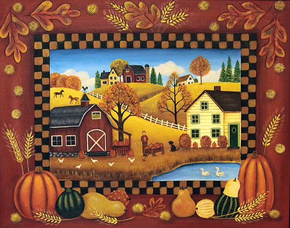 Original Folk Art Country Scene Painting on Canvas by Ravensbend, $49.00