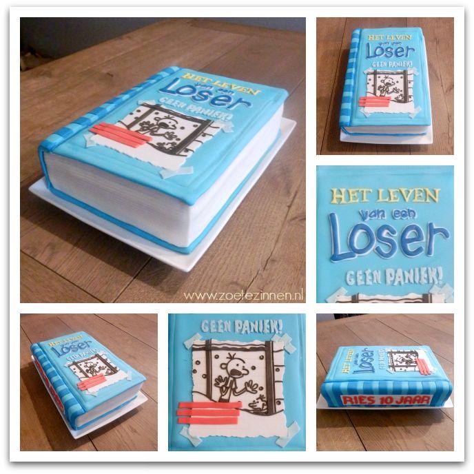 Een boektaart 'het leven van een loser', met how-to te vinden op mijn blog. (how-to cake that looks like a book)