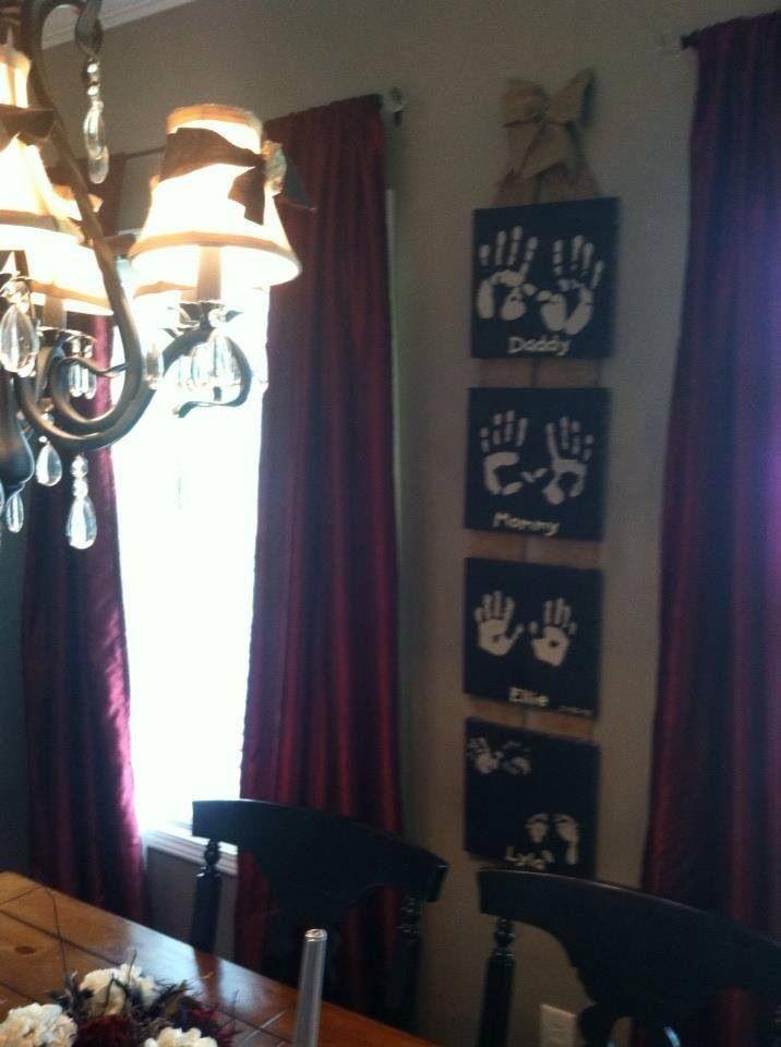Family handprints :) diy painted canvas black cream burlap kitchen home decor wall