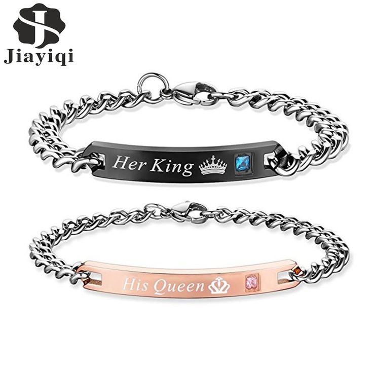 Jiayiqi 1 pcs His Queen Her King Couple Bracelets Crystal Stainless Steel Pair Bracelets Heart Crown Charm For Women Men Jewelry //Price: $17.68 & FREE Shipping //     #hashtag4