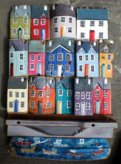 'large patchwork houses' - driftwood art from West Wales