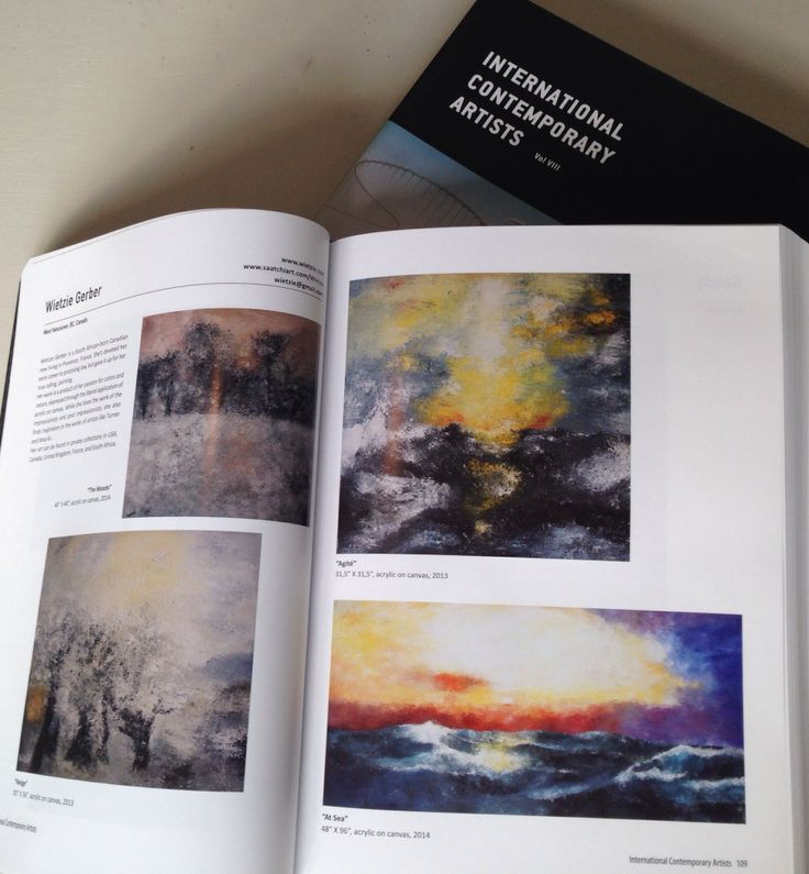 Four paintings by Wietzie are featured in the International Contemporary Artists Vol VIII book