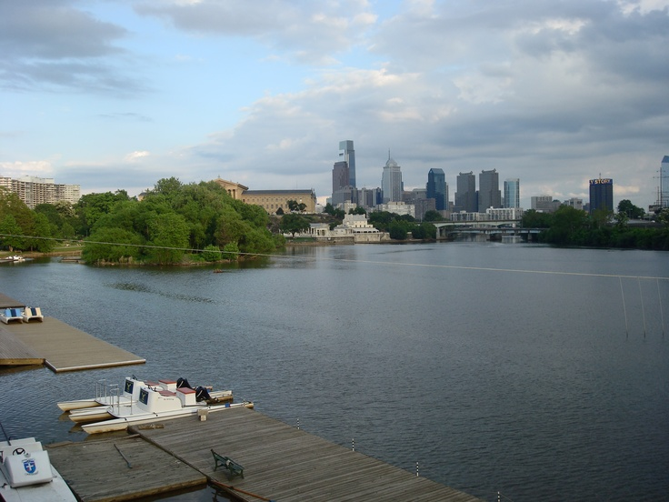 An incredible view of downtown Philadelphia seen from the back deck of the Vesper boathouse on Kelly Drive.