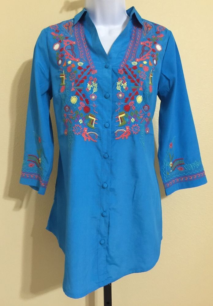 "Kyla Seo By Caite Women's Blue Persian ""Emmi"" Shirt W/Embroidery Size S NWT #KylaSeo #ButtonDownShirt #Casual"