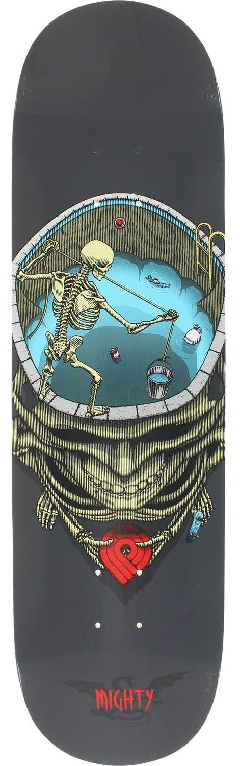 Powell Peralta Mighty Pool Skull Deck -8.5 Grey Assembled as COMPLETE Skateboard
