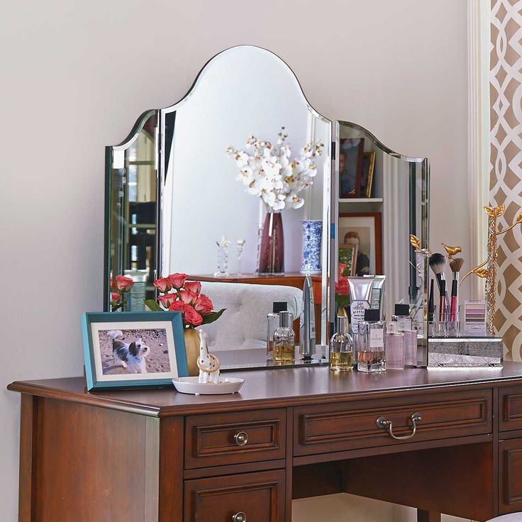 Turn Any Table Into A Stylish And Contemporary Dressing Table With This  Lovely Tri Fold Mirror. Can Be Hung On The Wall Via Attached D Rings And  Its Plastic ...