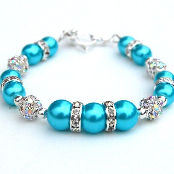 Light Turquoise Pearl Rhinestone Bracelet Bridesmaid by AMIdesigns, $24.00