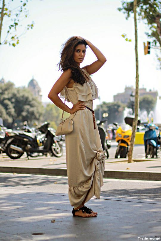 Knotted maxi // Barcelona street style